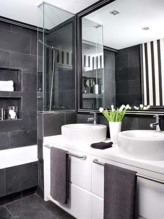 Modern Black And White Bathroom Wallpaper Home Ideas - Black and white wallpaper for bathrooms for bathroom decor ideas