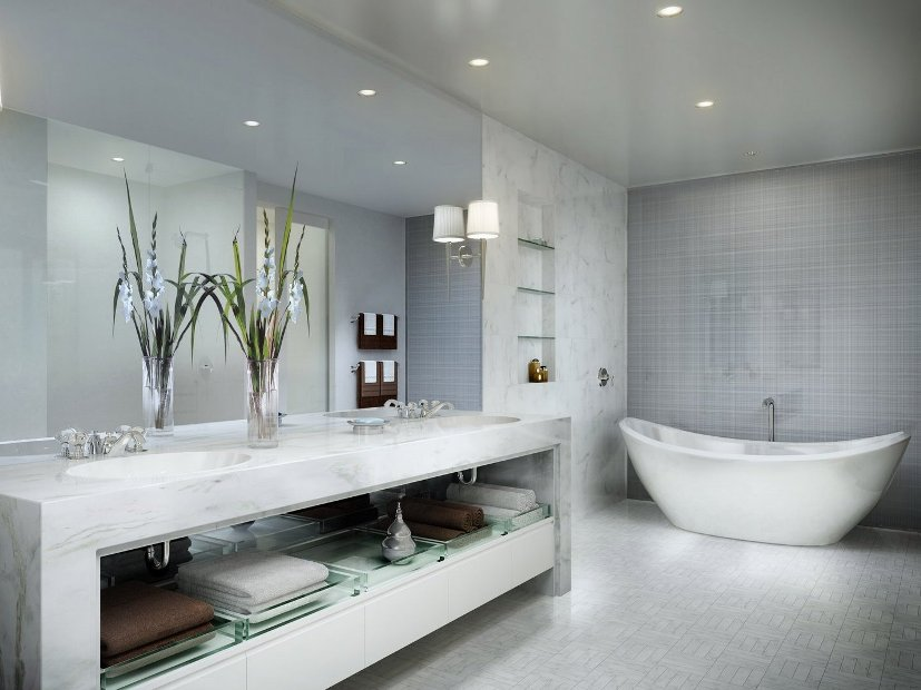Modern Bathroom Floor Tile Design Idea