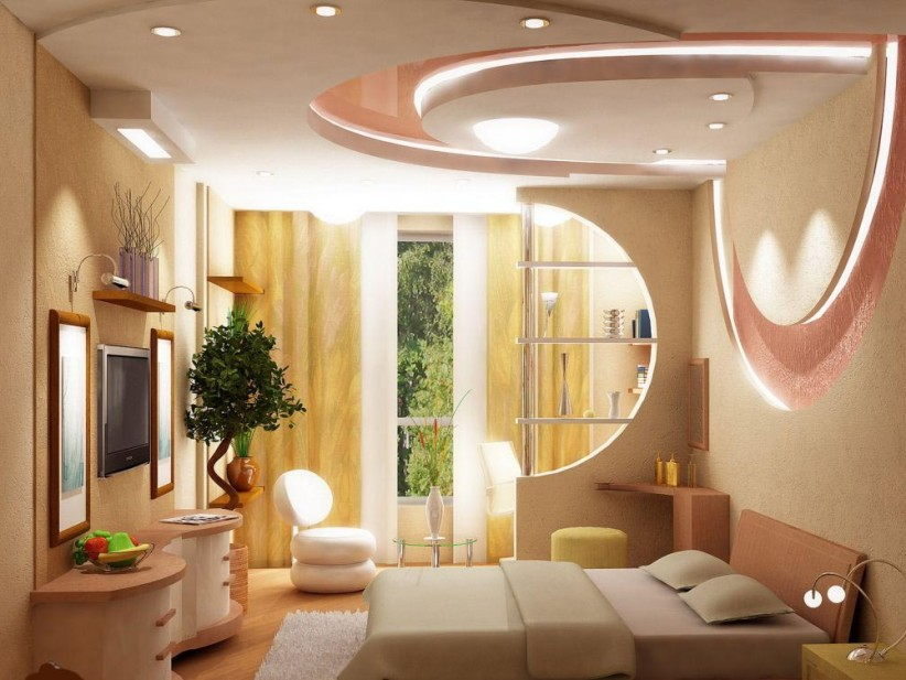 modern bedroom ceiling made of gypsum - Room Design Home Roofs