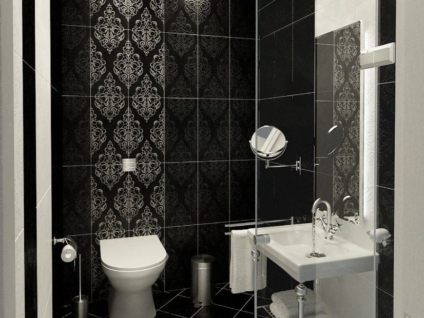 Modern Black And White Bathroom Ceramic