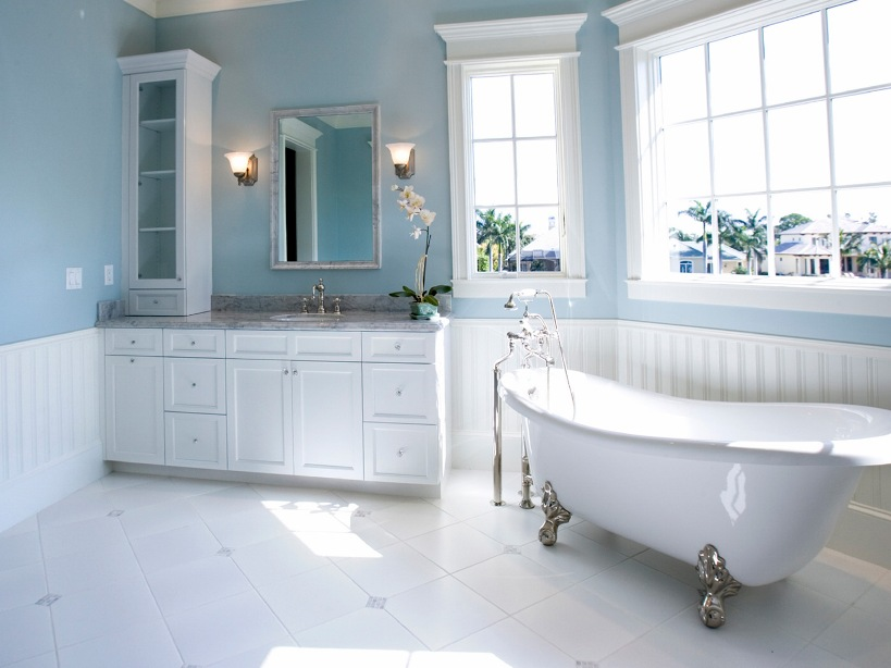 Modern Blue And White Bathroom Design