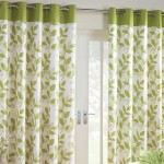 Modern Green And White Windows Curtain