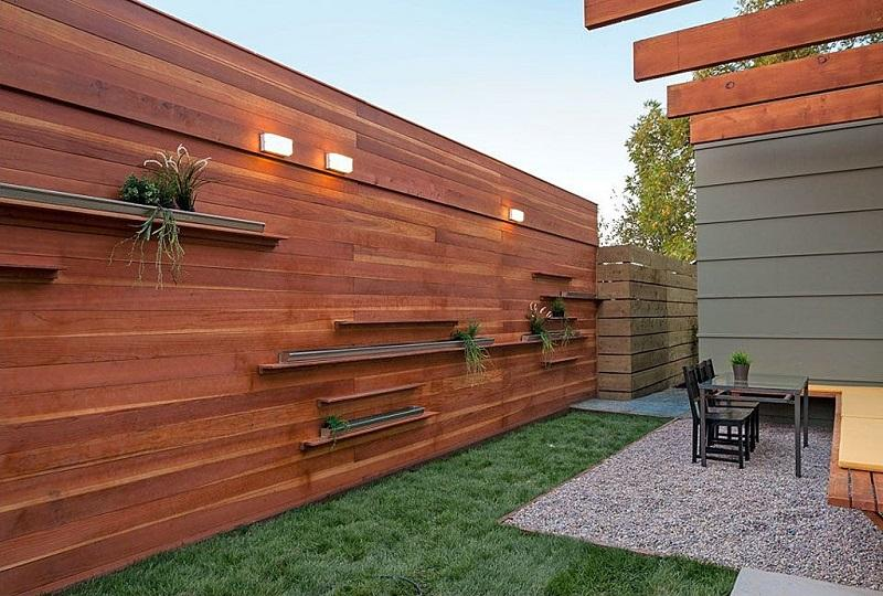 Modern Minimalist Wood Fence Design Idea