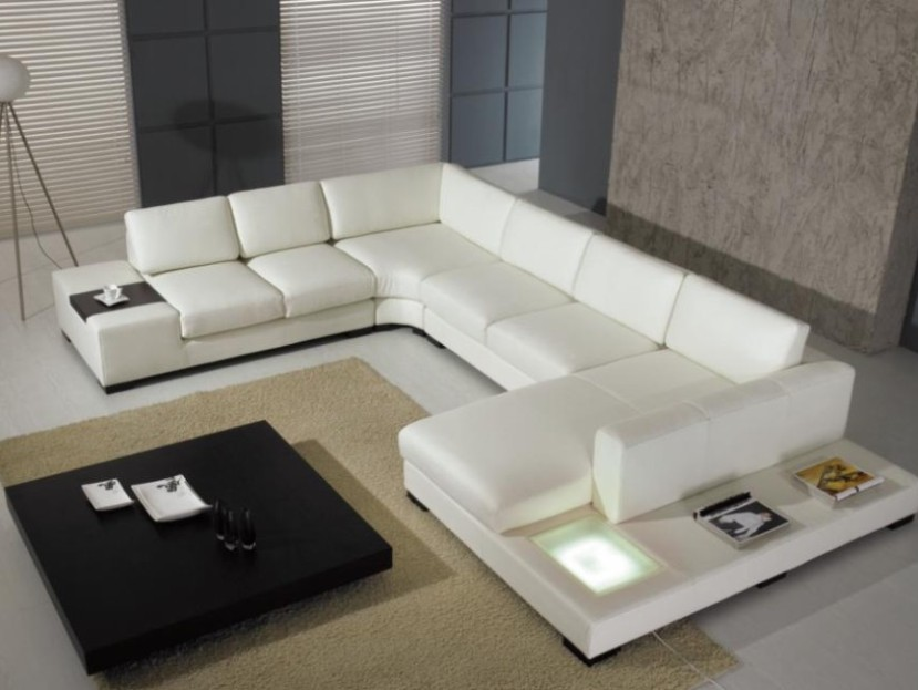 Modern White Sofa With Black Table