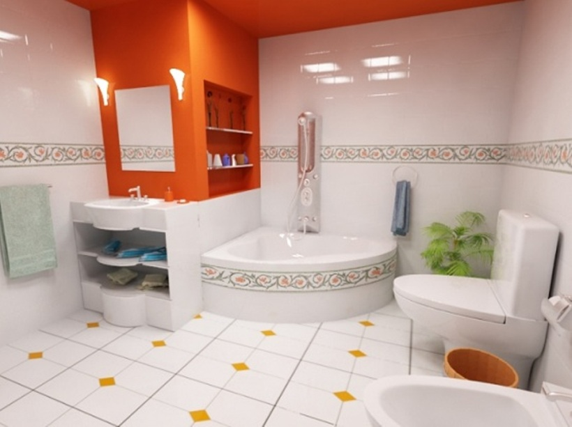 Orange And White Color For Bathroom Tile