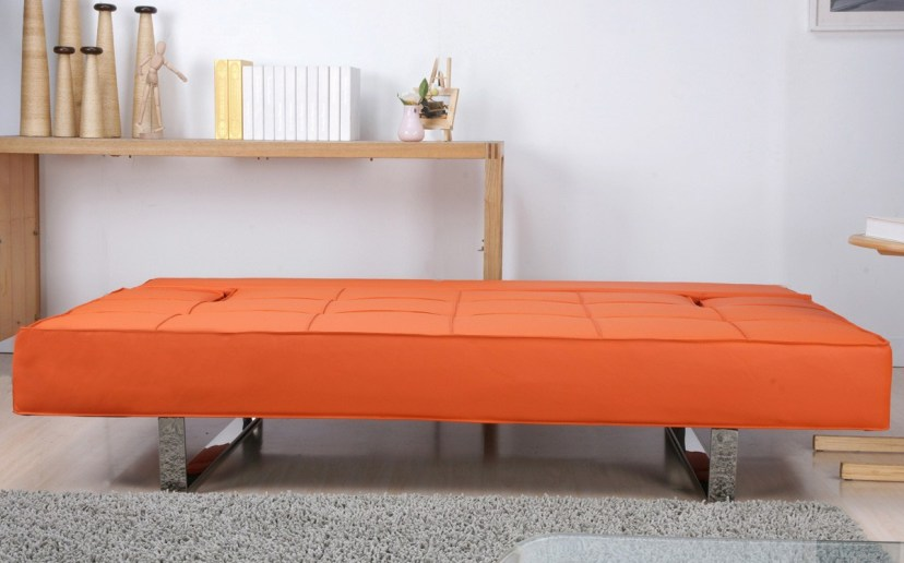 Genial Minimalist Living Room Furniture Grey Rug Bright Orange Sleeper Sofa