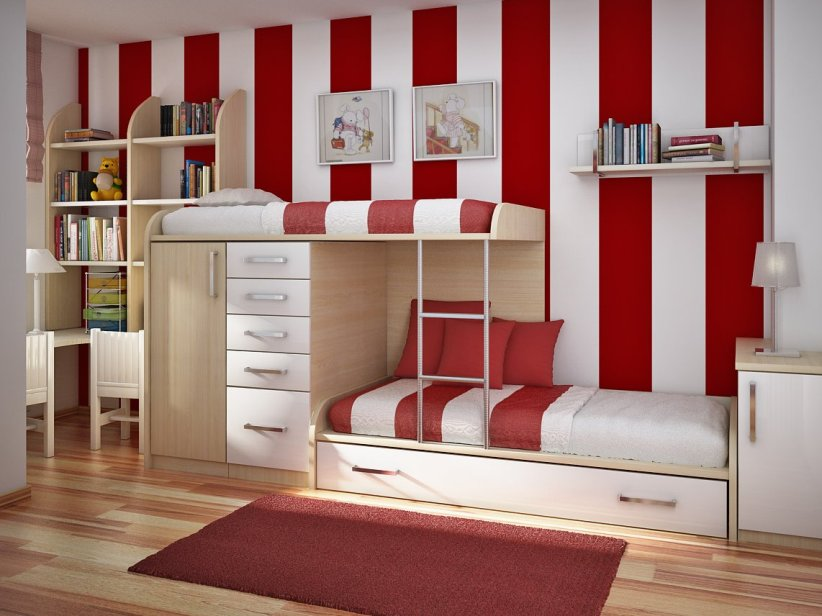 Red And White Child Bedroom Color