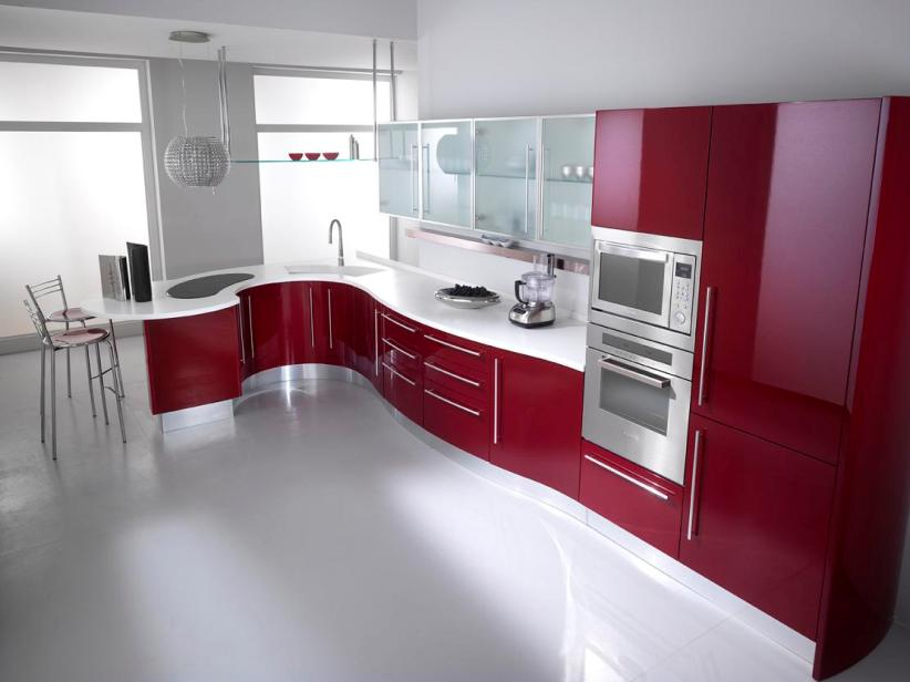 Red And White Multifunction Kitchen Design