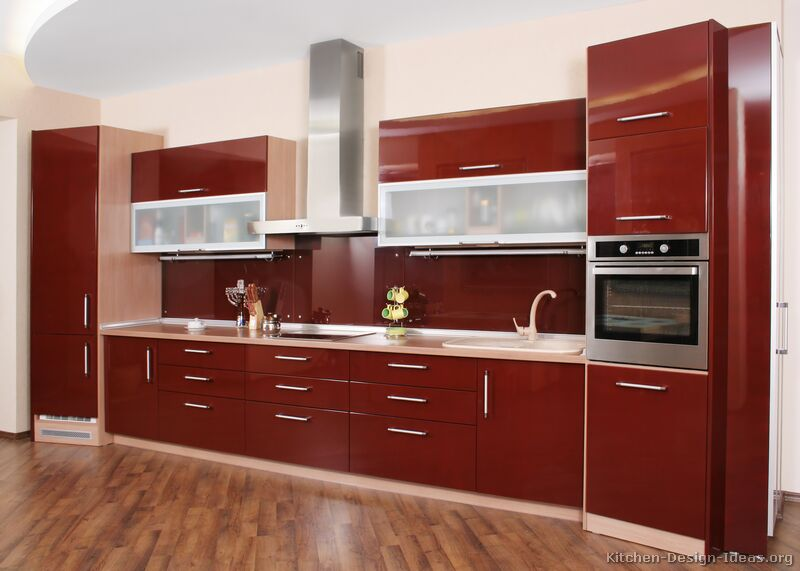 Red Cabinet Color For Minimalist Kitchen