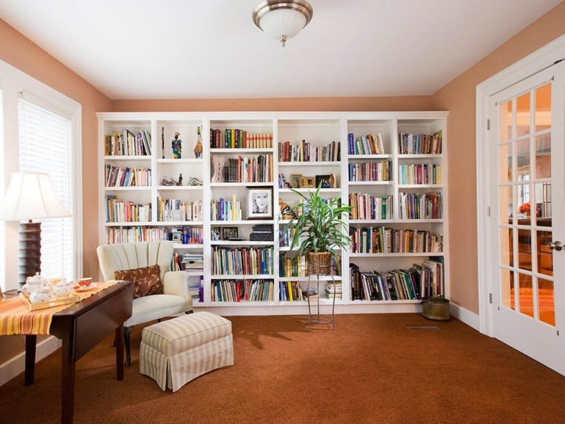 Simple Home Library Layout Design Picture