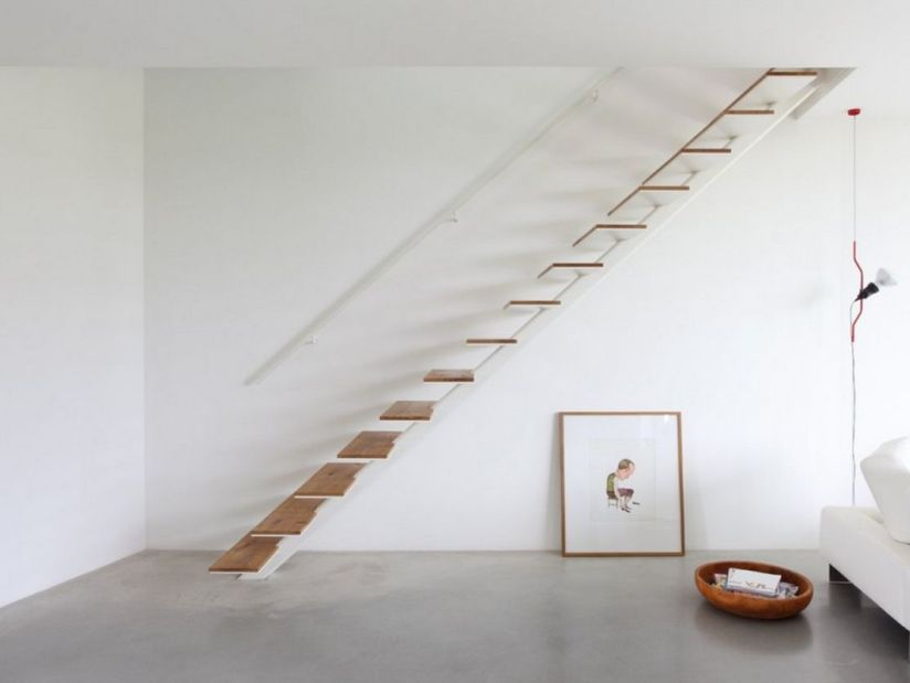 Simple Wood Stairs Model For Minimalist Home
