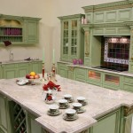 Traditional Kitchen Design With Green Color