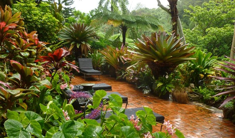 Small tropical theme home garden design 4 home ideas for Tropical home garden design