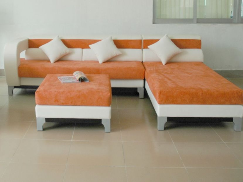 Unique Contemporary Orange White Sofa Design