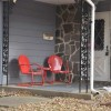 Unique Front Terrace Chairs With Red Color