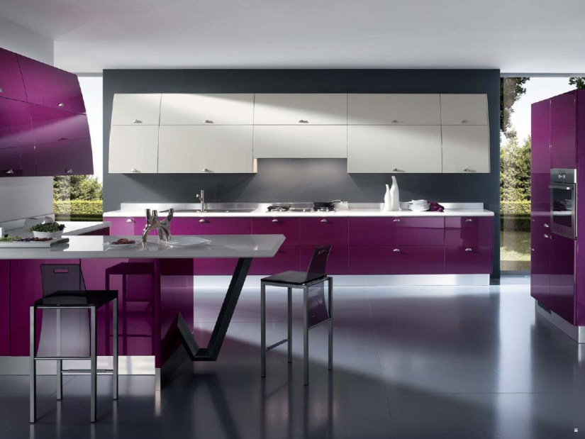 Unique Purple And White Kitchen Color