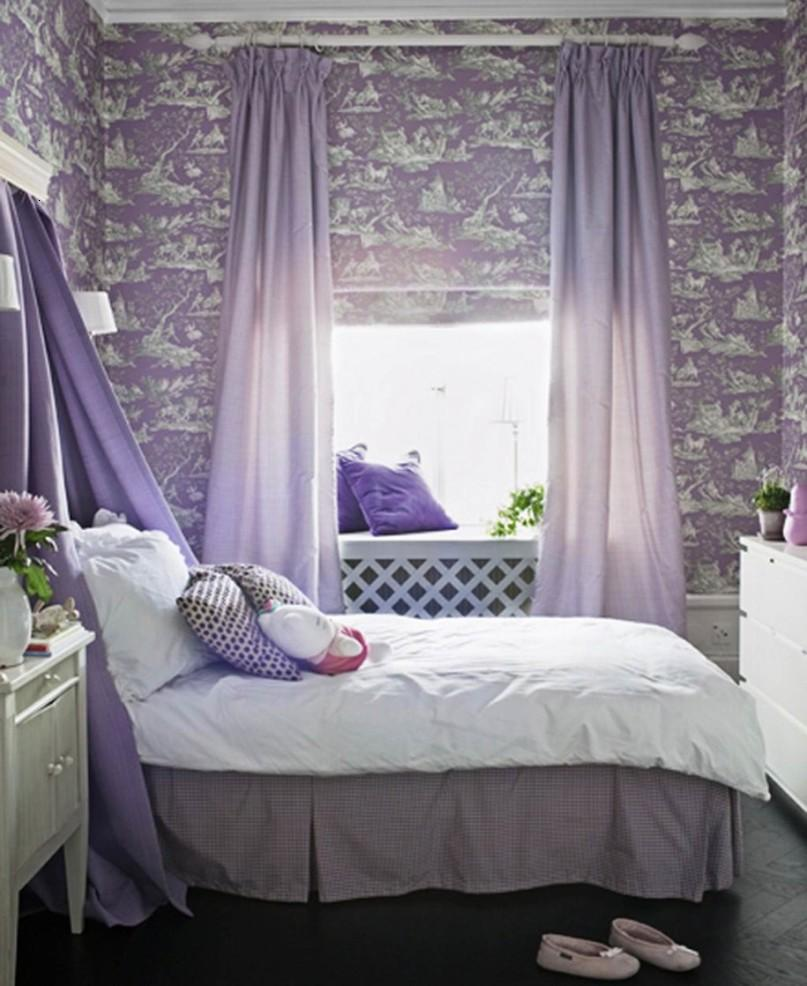 Unique Purple Wallpaper In Girls Bedroom