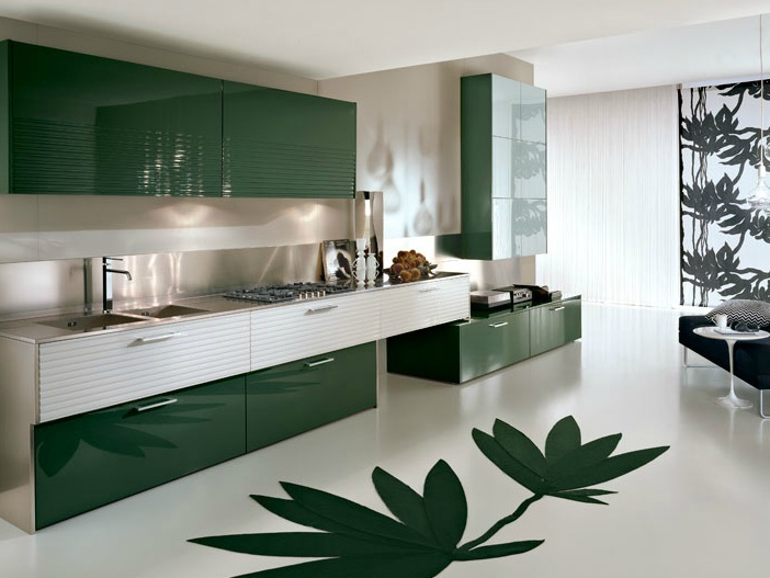 White And Green Color In Home Kitchen