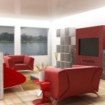 White And Red Decor For Living Room