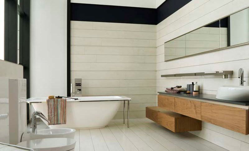 White Color For Contemporary Home Bathroom