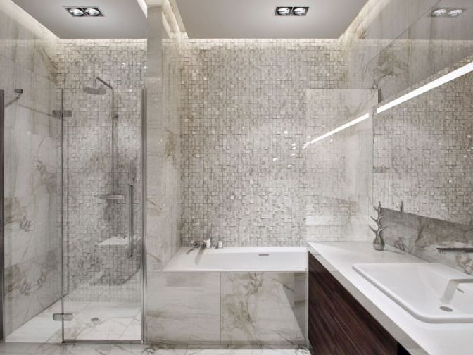 White Fabric Ceramic Design For Modern Bathroom