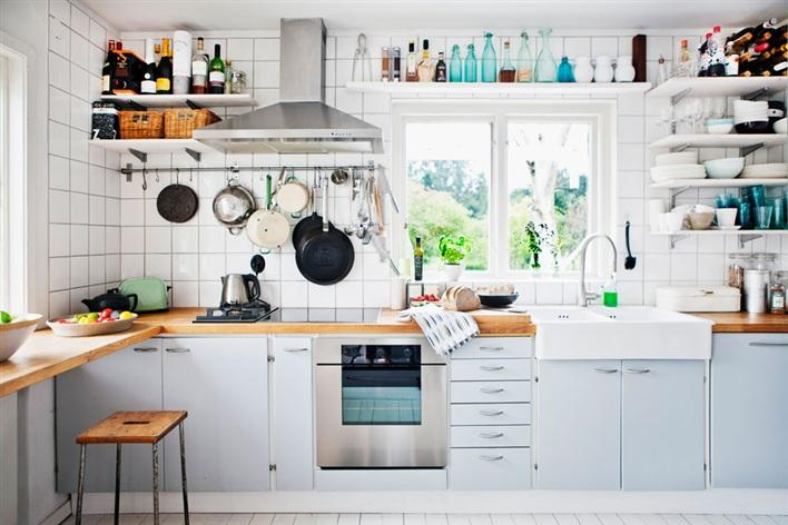 White Kitchen Set Shelves Idea Picture