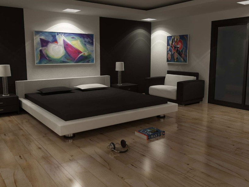 Amazing Modern Bedroom Interior Unique Bed Design Wooden Floor White Brown Wall