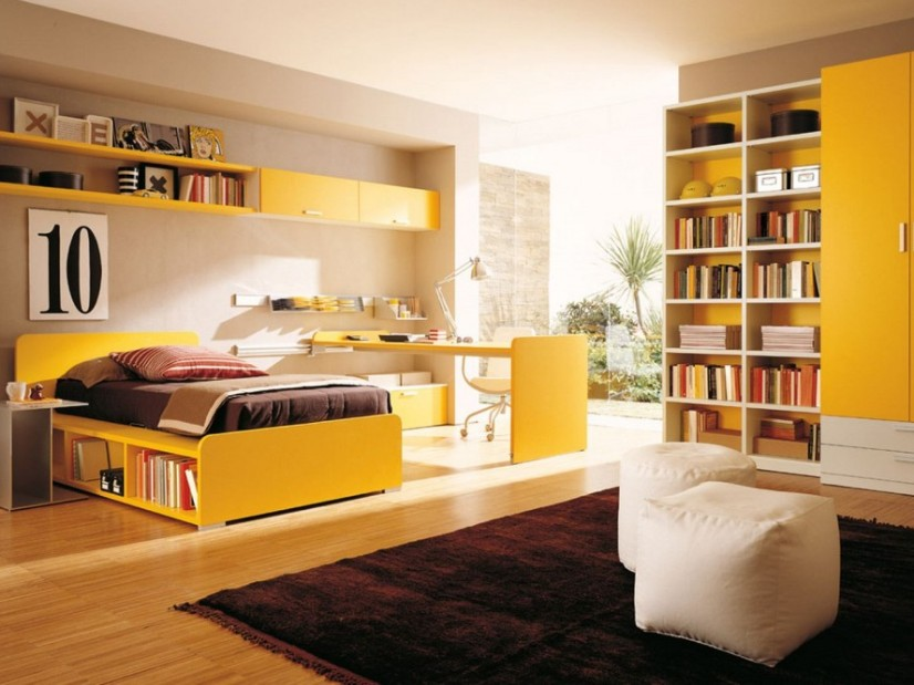 Yellow And Brown Teen Bedroom Color