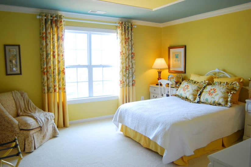 Yellow Paint Color In Bedroom Wall