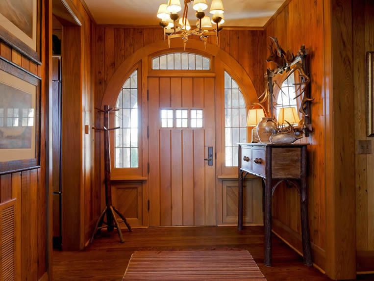 Elegant Small Wooden Front Door Layout