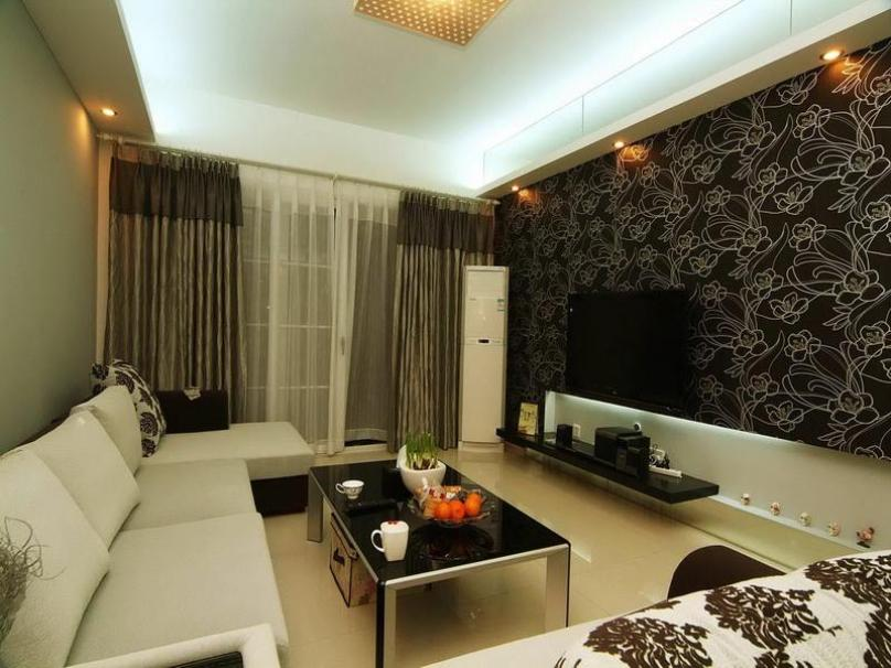 Inspiring Living Room With Brown White Theme