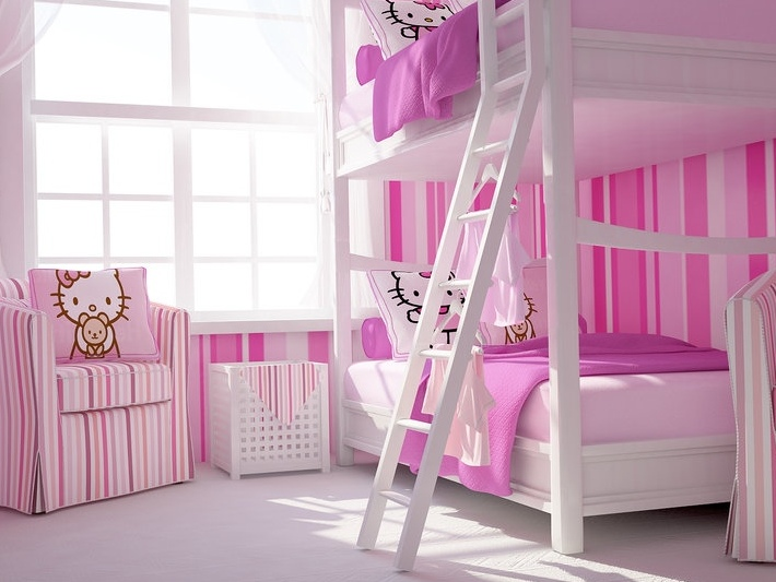 Minimalist Hello Kitty Bedroom For Girls