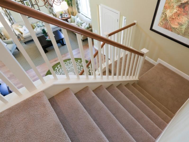 Simple Brown And White Home Stairs