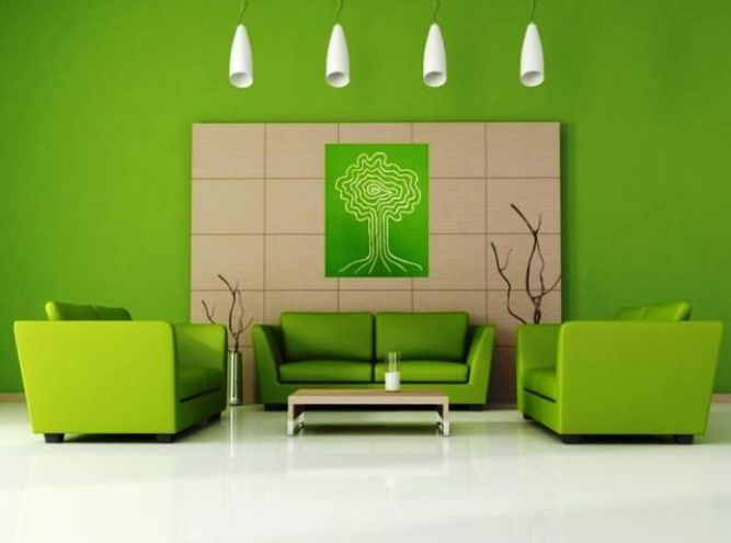 Stylish Green Living Room Paint Color