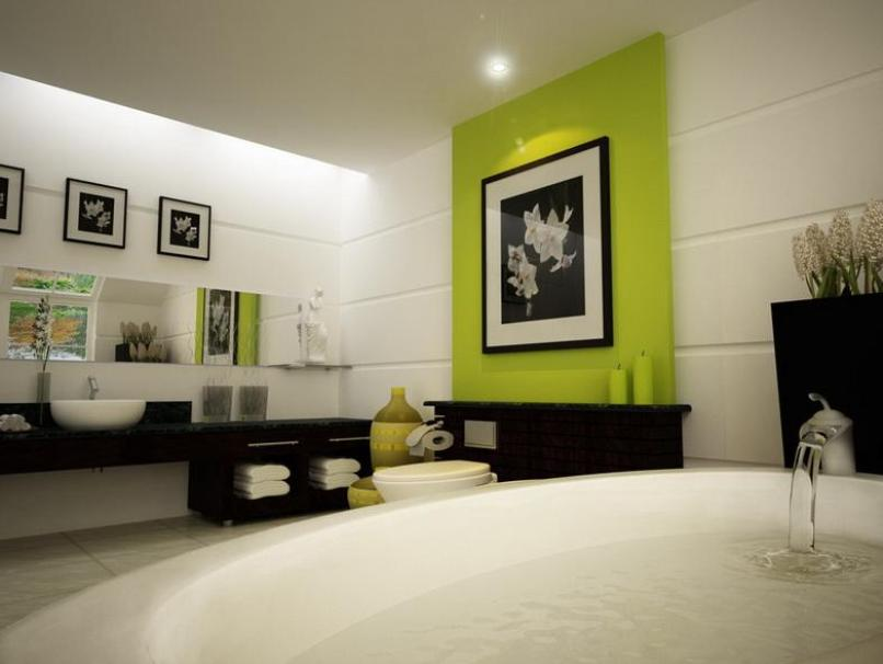 Wonderful Green White Paint For Bathroom Interior