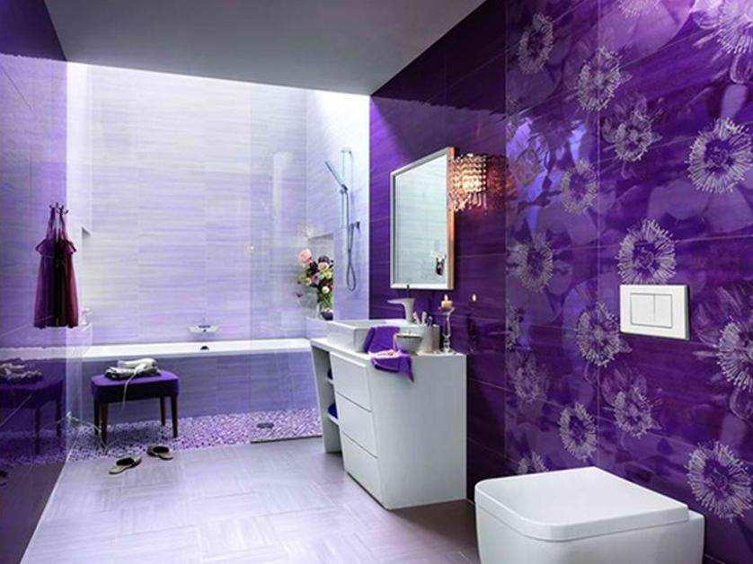 Beautiful Bathroom Design With Purple Decoration