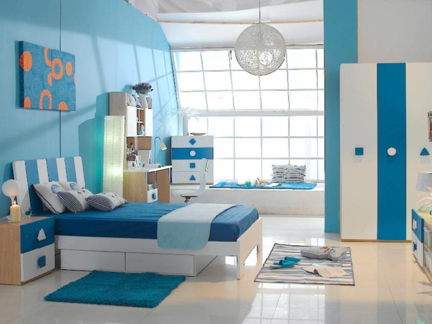 Beautiful Blue White Bedroom Interior Theme