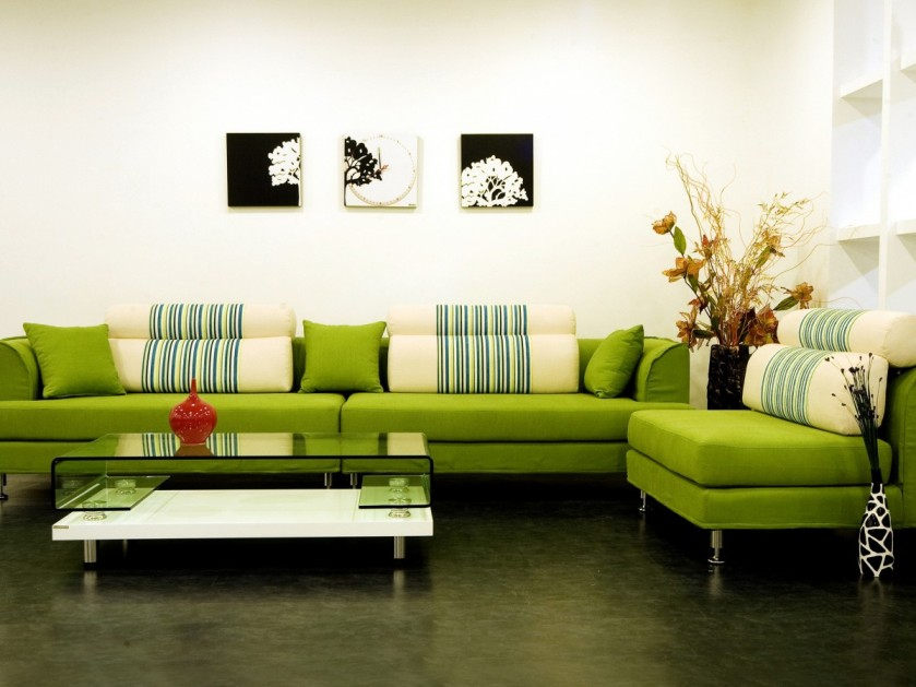 Beautiful Green White Living Room Color