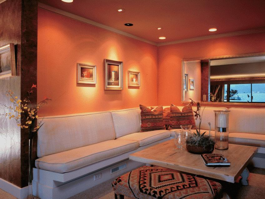 Bright Orange Living Room Paint Idea