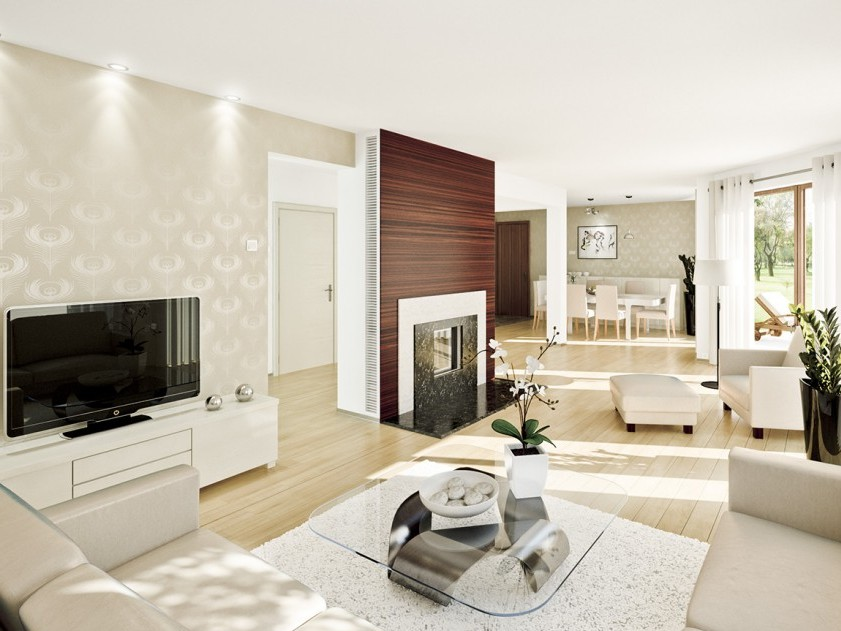 Clean Living Room Interior With White Theme