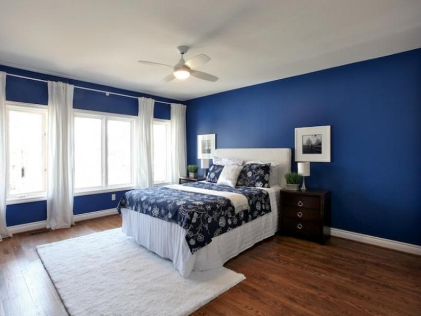 Comfortable Blue White Bedroom Paint Idea