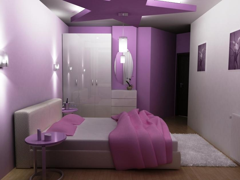 Elegant Bedroom Interior With Purple White Color