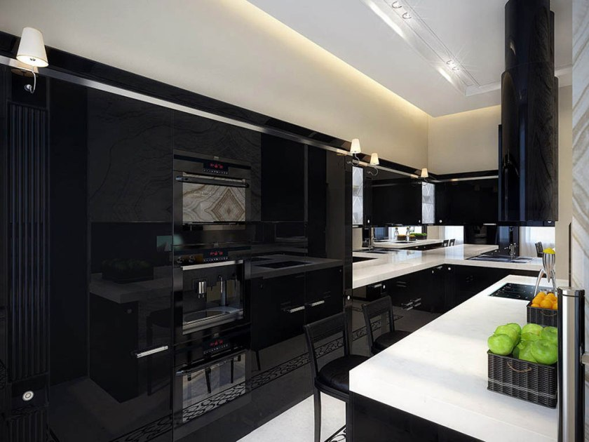 Elegant Black Minimalist Kitchen Small Space
