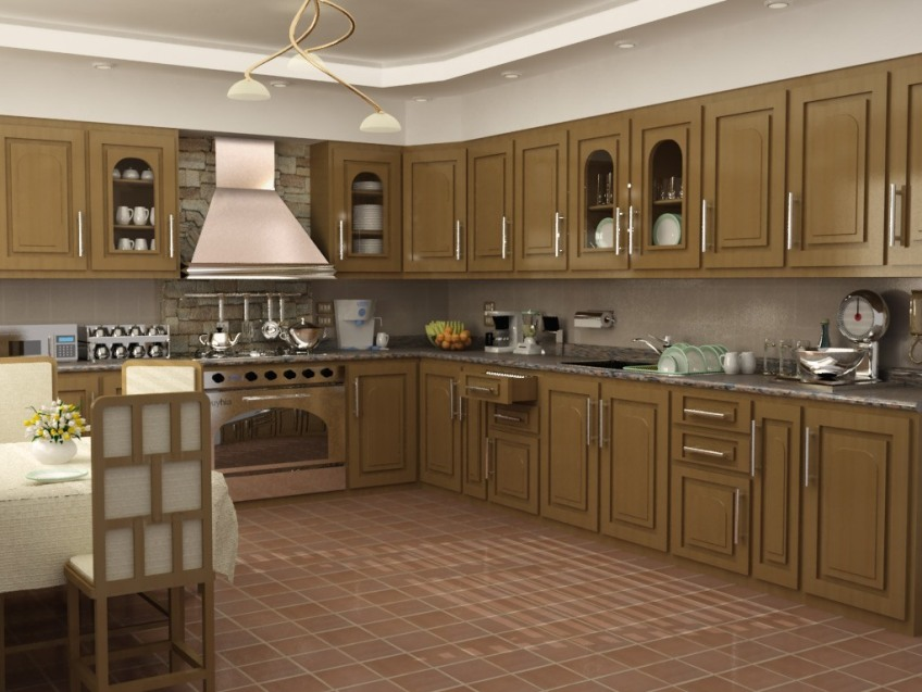 Elegant Brown Kitchen Interior Design Image