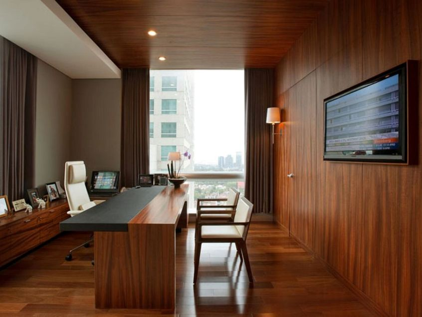 elegant wooden home office interior design