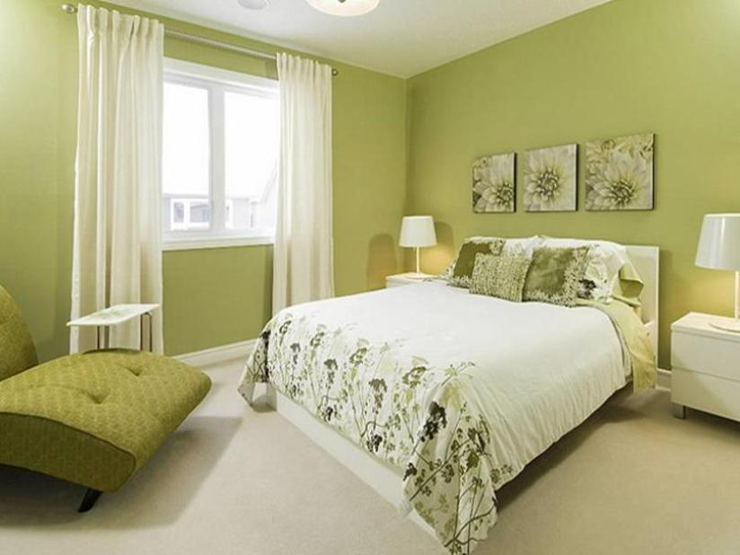 Fresh Green Bedroom Interior Design Photo