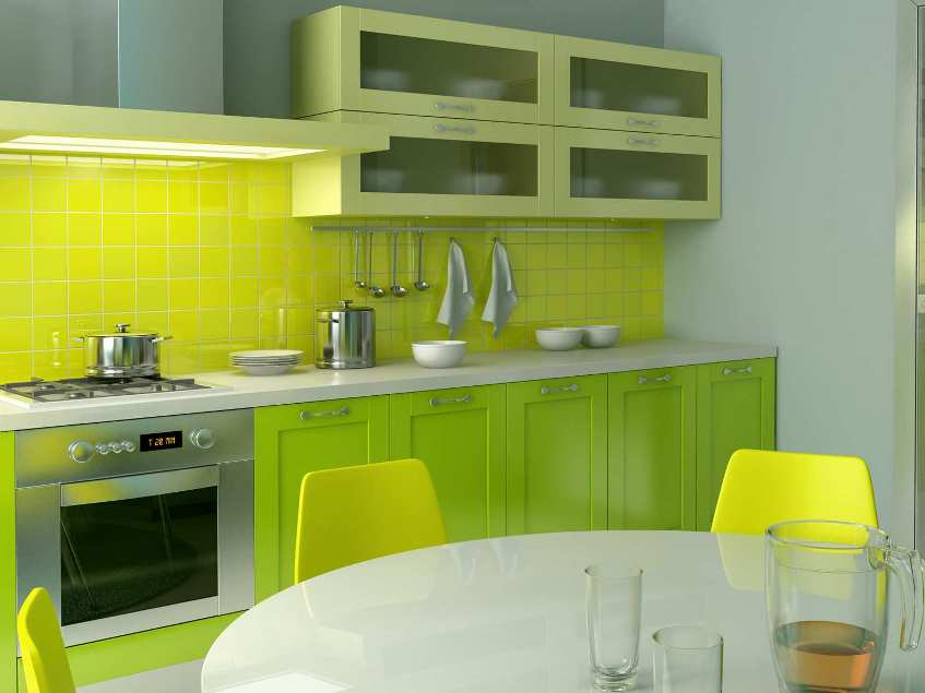 Fresh Kitchen Interior With Natural Green