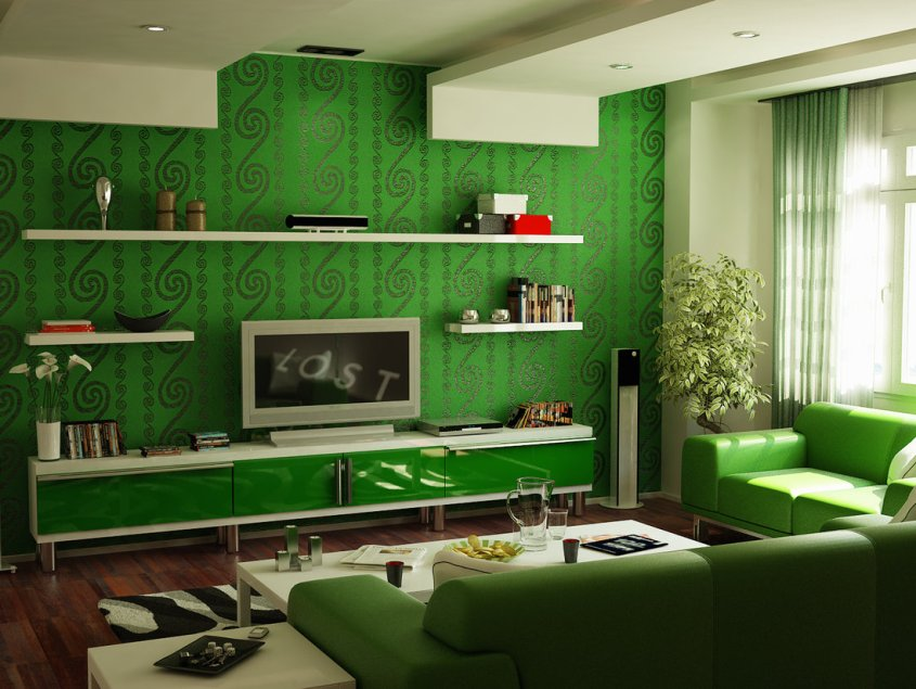 Green Decoration Idea For Family Room