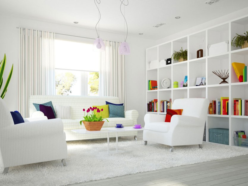 Lovely White Living Room Interior Idea