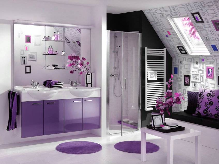 Minimalist Bathroom Interior With Purple Furniture